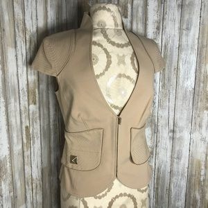 MARCIANO (8) Short Sleeve Tan Peplum Blazer Top